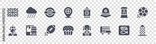Fotografie, Tablou england glyph icons on transparent background
