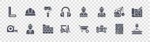 Construction Glyph Icons On Transparent Background. Quality Vector Set Such As Crane, Concrete Mixer, Forklift, Tape Measure, Demolition, Paint Roller, Worker, Helmet