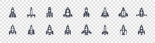Rocket Glyph Icons On Transparent Background. Quality Vector Set Such As Rocket, Rocket Space Ship, Space Ship, Space Ship,
