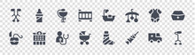 Nursing Glyph Icons On Transparent Background. Quality Vector Set Such As Walker, Syringe, Baby Stroller, Dental Floss, Baby Clothes, Hygeia, Bathtub, Feeder
