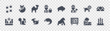 Animal And Nature Glyph Icons On Transparent Background. Quality Vector Set Such As Grass, Campus, Pangolin, Canyon, Lion, Camel, Bison, Fox