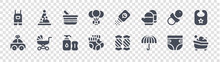 Baby Shower Glyph Icons On Transparent Background. Quality Vector Set Such As Bath Tub, Umbrella, Socks, Car Toy, Pacifier, Baby, Baby Powder, Birthday