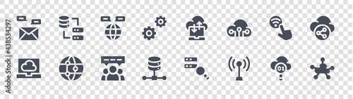 Canvastavla cloud computing glyph icons on transparent background