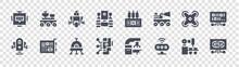 Robotics Glyph Icons On Transparent Background. Quality Vector Set Such As Fingerprint, Sensor, Robot, Medical Robot, Drone, Robot, Protoboard, Moon Rover