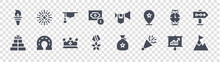 Success Glyph Icons On Transparent Background. Quality Vector Set Such As Goal, Confetti, Medal, Gift, Watch, Mortarboard, Trumpet, Fireworks