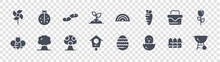 Spring Glyph Icons On Transparent Background. Quality Vector Set Such As Barbecue, Hatch, Bird House, Bee, Picnic Basket, Earthworm, Rainbow, Ladybug