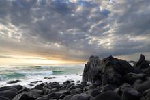 Waves Crashing On A Rocky Coastline.