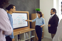 Experienced Knowledgeable Business Coach Or Manager In Front Of Office Board, Making Presentation For Team Of Workers, Giving Advice On How To Reach Success, And Talking About Importance Of Teamwork