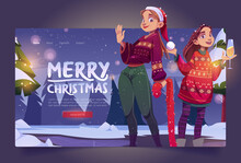 Merry Christmas Banner With Two Girls In Ugly Sweaters On Winter Landscape Background. Vector Landing Page With Cartoon Young Women With Champagne And Red Santa Hat Celebrate New Year