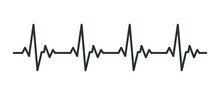 Heart Cardiogram Line Icon. Simple Outline Style. Pulse, Ecg, Ekg, Hertbeat, Electrocardiogram, Graph, Rhythm Cardioid Concept. Vector Illustration Isolated On White Background. Thin Stroke EPS 10