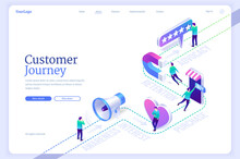 Customer Journey Banner. Buying Process From Awareness And Interest To Purchase. Concept Of Retention And Advocacy Marketing Strategy. Vector Landing Page With Isometric Client On Buyer Route Map