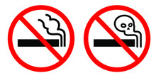 No Smoking Sign On White Red Background