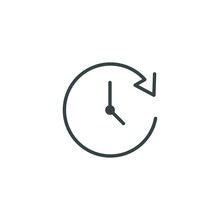 Time Line Icon. Simple Outline Style. Timer, Long, Hour, Period, Clockwise With Arrow, Counter, Deadline Concept. Vector Symbol Illustration Isolated On White Background. Thin Stroke EPS 10.