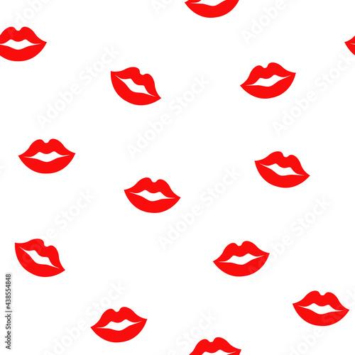Fototapeta Seamless pattern of red lips on white background