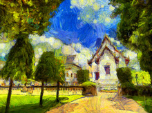 Ancient Thai Architecture Landscape Illustrations Creates An Impressionist Style Of Painting.