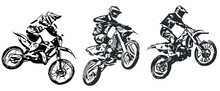 Motocross Jump Silhouette Vector Isolated On White Background