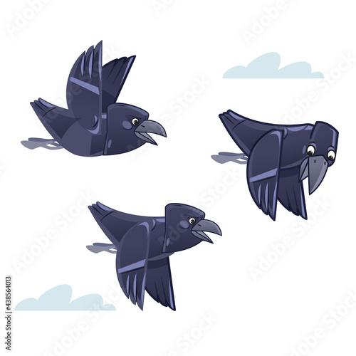 Fototapeta premium Cartoon flocks of crows flying in the sky. Vector illustration isolated on white background