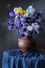 Still Life With Splendid Bouquet Of Irises
