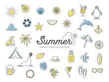 夏のシンプルな線画アイコンセット01 / ビーチ、海、自然、動物、花、果物 / 2色