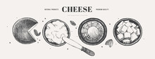 Hand-drawn Hard And Soft Cheeses On A Light Background, Top View. Feta, Ricotta, Gouda, Young Cheese, And A Knife. Retro Picture For The Menu Of Restaurants, Markets, And Shops. Vector Illustration.