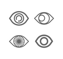 Eye Line Icon Set. Vision, Looking