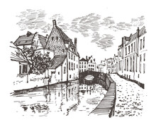 Travel Sketch Of Bruges, Belgium.  Hand Drawing Of Bruges. Urban Sketch In Black Color Isolated On White Background. Historical Building Line Art. Freehand Drawing. Hand Drawn Travel Postcard.