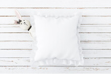 Mockup Of White Pillow With Zebra, White Pillow, Nursery Mockup,White Square Mockup Pillow, Baby Mockup Throw Pillow, JPG Instant Download