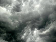 Background View Of Cloudy Black Sky In Monsoon Before Storm