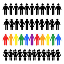 Holding Hands Stick Figure People Man Woman Vector Icon Pictogram Set. Stickman Human Standing Together In Line Row Border Male Female Silhouette On White Background