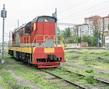 Front View Of Red Shunting Locomotive. Railroad Switcher