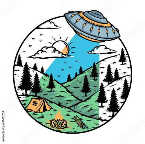 Fotografering Alien invasion on the mountain illustration