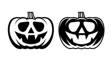 Halloween Pumpkin With Happy Face. Flat Style Vector