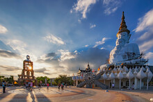 """Five White Buddha Statues"" Landmark Of Wat Phra That Pha Son Kaew Temple, Kho Kho, Petchabun, Thailand"