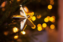Christmas Tree Decoration And Bokeh Lights Background