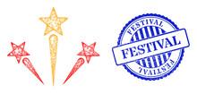 Vector Net Fireworks Model, And Festival Blue Rosette Dirty Seal. Linear Frame Net Symbol Created From Fireworks Icon, Is Created From Intersected Lines. Blue Seal Has Festival Text Inside Rosette.