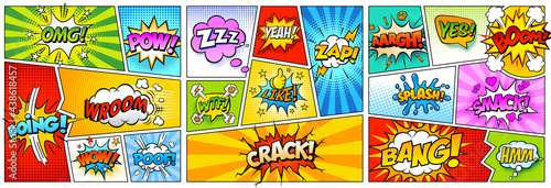 Fototapeta Colorful comic book background.Blank white speech bubbles of different shapes. Rays, radial, halftone, dotted effects. Vector illustration in pop art style