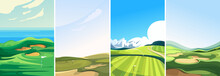 Collection Of Golf Courses. Sport Fields In Vertical Orientation.
