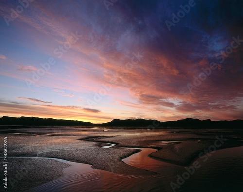 Carta da parati new zealand, whanganui inlet, low tide, evening mood, coast, coastal landscape,