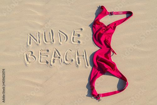 Fotografia Close up of woman bra at nude beach