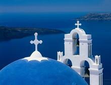 Greece, Island, Santorini, Church, Detail, Bell Tower, Sea, Aegean, Dome, White, Blue, Cyclades, Thira, Thera, Caldera, Coast, Building,