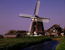 Netherlands, Groenveld Near Schagen, Windmill, Holland, Mill, 1572, Structure, Architecture, Building, River, Water, Nature, Landscape, Energy, Vegetation, Idyll,