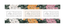 Vector Set Pattens For Cosmetics With Label Template Design. Patterns Or Wrapping Paper For Package And Beauty Salons. Botanical Collection. Organic, Natural Cosmetic.