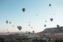 Hot Air Balloon Parade In Cappadocia At Sunrise