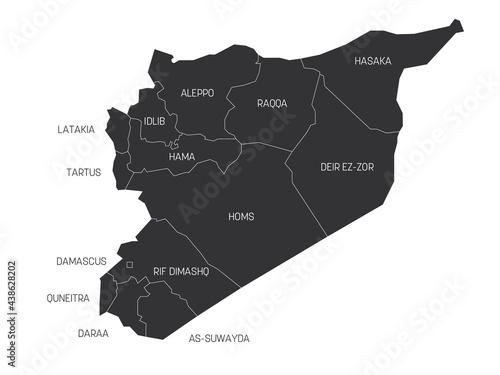 Tela Grey political map of Syria