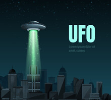 UFO Spaceship With A Light Beam Flying Over The City. UFO Day Vector Illustration