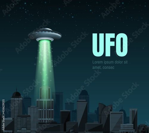 Fotografia UFO spaceship with a light beam flying over the city
