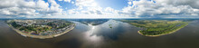 Nizhny Novgorod, Russia. Panorama 360 Of The City With A View Of The Kremlin. Arrow. The Confluence Of The Oka And Volga Rivers. Aerial View