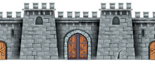 Stone Castle Wall Seamless Background, Medieval Greek Tower Game Illustration, Vintage Wooden City Gate. Gray Fortress Front View Isolated On White. Citadel Architecture Stone Wall Vector Texture