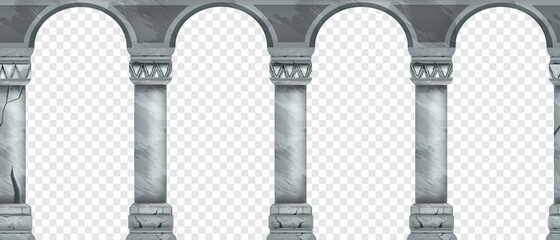 Ancient stone arch seamless border, marble vector Greek palace pillars on transparent background. Old classic architecture illustration, roman column facade, entrance frame. Vintage arcade, stone arch