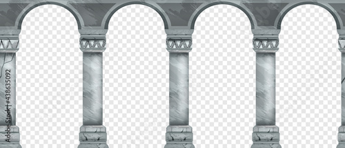 Fotografia Ancient stone arch seamless border, marble vector Greek palace pillars on transparent background